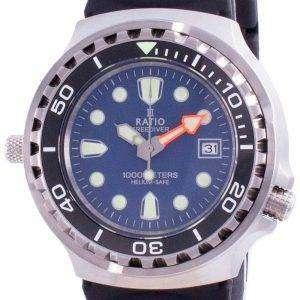 Ratio 2nd Generation Free Diver Helium-Safe Quartz 1038EF102V-BLU-V02 1000M Mens Watch