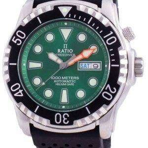 Ratio FreeDiver Helium-Safe 1000M Sapphire Automatic 1068HA90-34VA-GRN Mens Watch