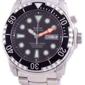 Ratio FreeDiver Helium-Safe 1000M Sapphire Automatic 1068HA96-34VA-BLK Mens Watch
