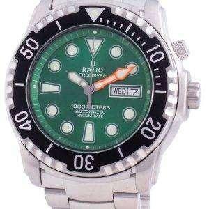 Ratio FreeDiver Helium-Safe 1000M Sapphire Automatic 1068HA96-34VA-GRN Mens Watch