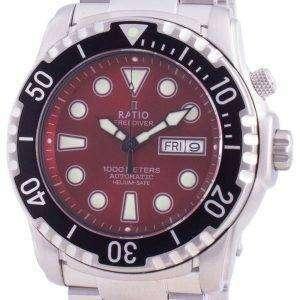 Ratio FreeDiver Helium-Safe 1000M Sapphire Automatic 1068HA96-34VA-RED Mens Watch